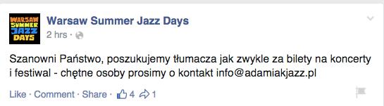 Warsaw Summer Jazz Days_za bilety_16.2.15
